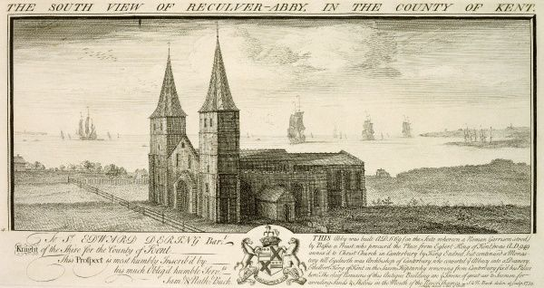 "RECULVER TOWERS AND ROMAN FORT, Kent. ""The South View of Reculver-Abbey in the County of Kent"". Engraving by Samuel and Nathaniel BUCK, 1735"