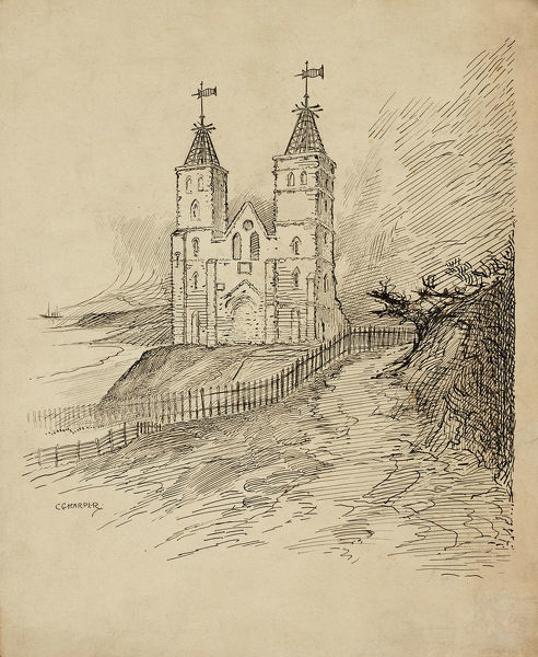 A view from the west of Reculver Towers, Kent. Drawing by Charles George Harper. Date range: 1892-1933