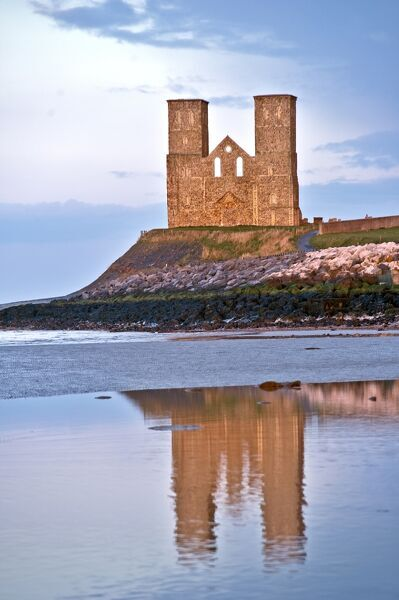 RECULVER TOWERS AND ROMAN FORT, Kent. Reflections of the towers in the sea