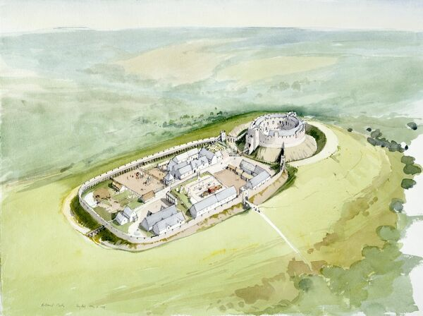 "RESTORMEL CASTLE, Cornwall. ""Bird's eye view of motte and bailey castle "". Reconstruction drawing of the castle in the 14th century by Terry Ball (English Heritage Graphics Team)"