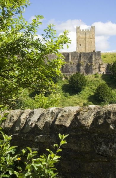 RICHMOND CASTLE, North Yorkshire. General view of the Keep on the crest of the hill