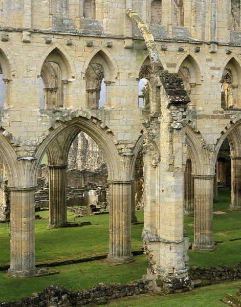 RIEVAULX ABBEY, North Yorkshire. The arches and buttresses of the north side of the abbey