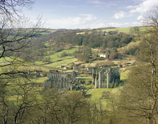 RIEVAULX ABBEY, North Yorkshire. View from the hillside