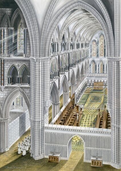 RIEVAULX ABBEY, North Yorkshire. Church interior looking east after rebuilding in the early 13th Century. Reconstruction drawing by Terry Ball (English Heritage Graphics Team)