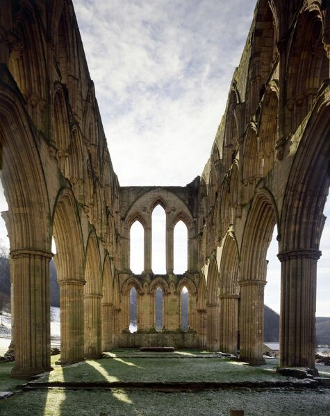 RIEVAULX ABBEY, North Yorkshire. The interior of the abbey church looking towards the East end