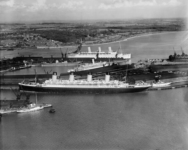 The RMS Olympic in White Star dock 44, Southampton. Photographed in April 1933 by Aerofilms Ltd