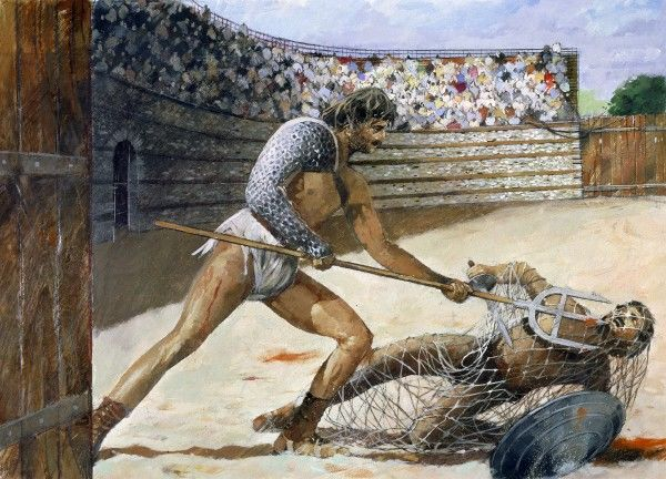 SILCHESTER ROMAN CITY WALLS AND AMPHITHEATRE, Hampshire. Gladiators. Reconstruction drawing by Ivan Lapper