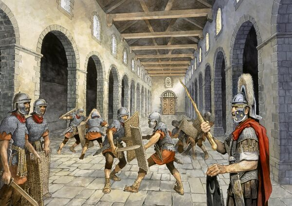 HADRIAN'S WALL: BIRDOSWALD ROMAN FORT, Cumbria. Reconstruction drawing by Philip Corke of Roman auxiliary infantry practising combat in the Drill Hall. hadrian