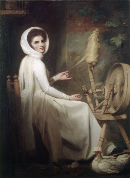 "KENWOOD HOUSE, THE IVEAGH BEQUEST, London. "" The Spinstress Lady Emma Hamilton at the Spinning Wheel"" 1782-86 by George Romney (1734-1802)"