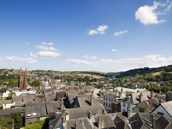 TOTNES CASTLE, Devon. View of the town from the castle