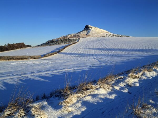 ROSEBERRY TOPPING, North Yorkshire. Snow view of hill on North Yorkshire moors
