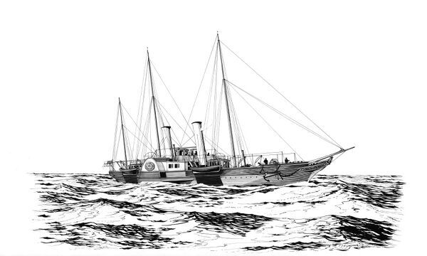 A reconstruction drawing of the Royal Yacht Alberta, a 370 ton wooden paddle steamer owned by Queen Victoria and Prince Albert, used largely to cross the Solent whilst the Queen and family were in residence at Osborne House on the Isle of Wight