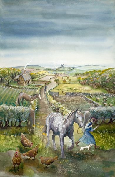Reconstruction drawing of imaginary rural landscape, c1600 Tudor by Judith Dobie, English Heritage Graphics Team. Farming