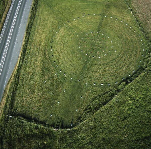 THE SANCTUARY, Avebury. Wiltshire. Aerial view of the site looking East. Part of the Avebury World Heritage Site
