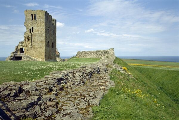 SCARBOROUGH CASTLE, North Yorkshire. View across the ditch and wall into the inner bailey showing the gate and bridge base