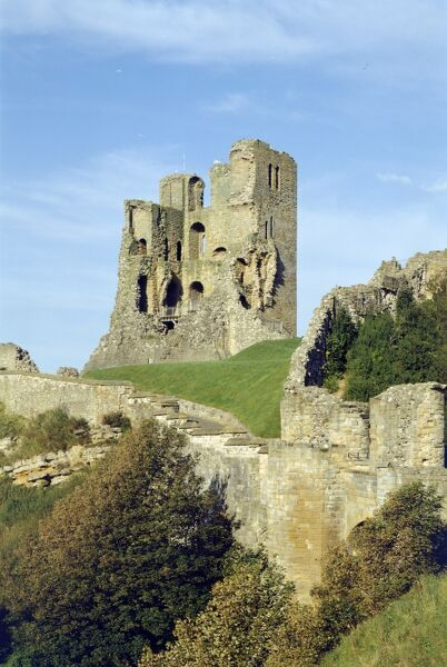 SCARBOROUGH CASTLE, North Yorkshire. General view of the castle from the Holms