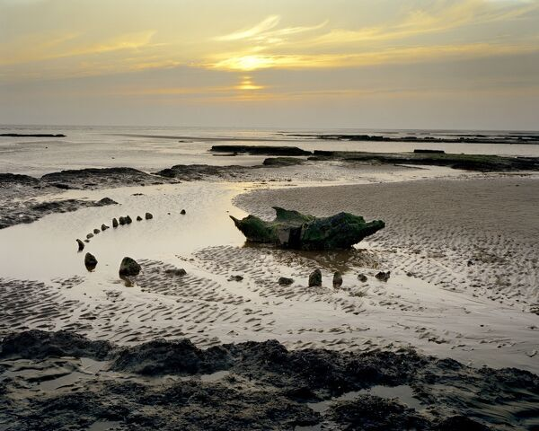 HOLME NEXT THE SEA TIMBER CIRCLE, ' Sea Henge ', Norfolk. Early bronze age. Sunset view. Seahenge