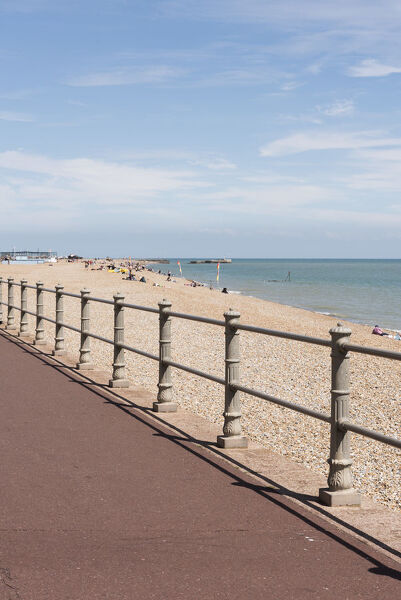 Carlisle Parade, Hastings, East Sussex. Seafront railings, view from the north west