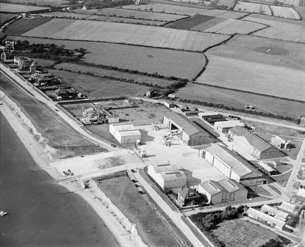 HM Naval Seaplane Training School Seaplane Sheds, Lee-on-Solent, Gosport, Hampshire. Photographed by Aerofilms Ltd in September 1928