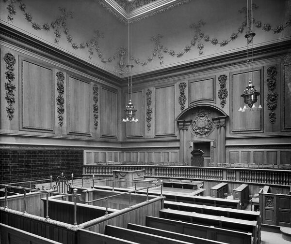 SESSIONS HOUSE, Lancaster Road, Preston, Lancashire. The interior of number 1 court at the County Sessions House. The court house was built between 1900 and 1903 to the designs of Henry Littler, the County architect, in an Edwardian Baroque style