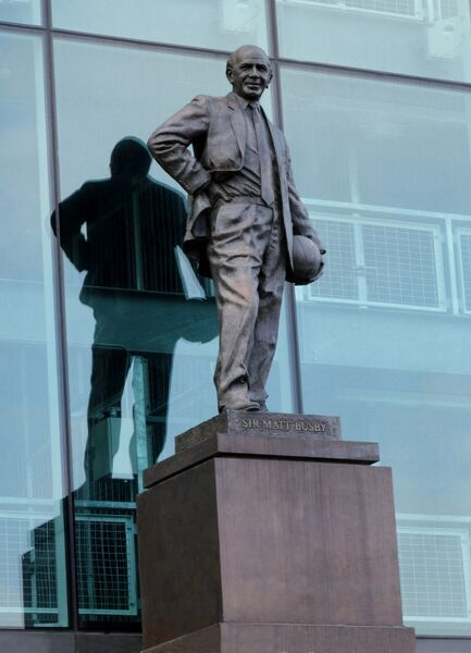 MANCHESTER UNITED FOOTBALL CLUB (Old Trafford), Sir Matt Busby Way, Manchester. View of the statue of Sir Matt Busby