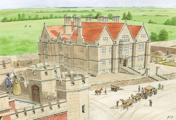 Thornton Abbey, North Lincolnshire. Reconstruction drawing by Jill Atherton, of Sir Vincent Skinner's house, built in the grounds of Thornton Abbey, viewed from the south-east, from the roof of the abbey gatehouse. Mid-17th century