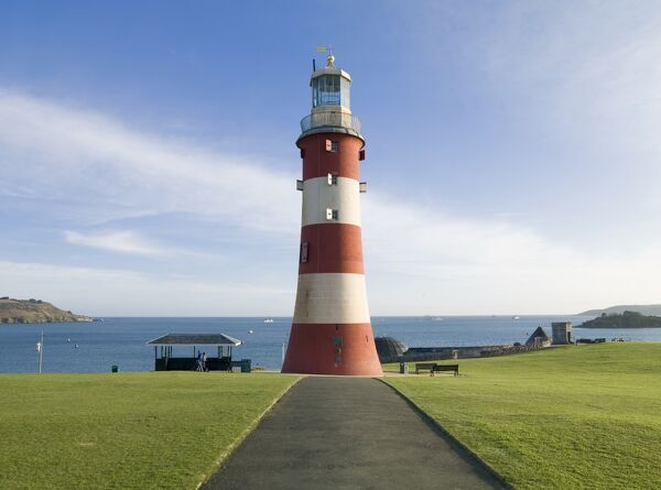 SMEATON'S TOWER, The Hoe, Plymouth, Devon. View of Smeaton's Tower which was largely dismantled from Eddystone Rocks and reassembled on Plymouth Hoe as a memorial