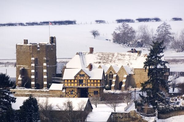 Stokesay Castle, Craven Arms, Shropshire. View from the east in the snow