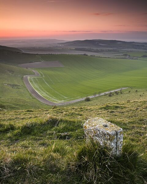 SOUTH DOWNS, East Sussex. Waymarker along downland path