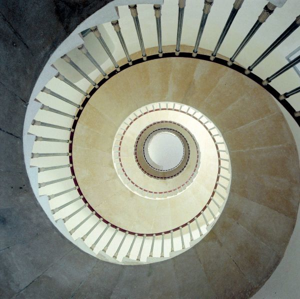 Spiral staircase. Interior detail