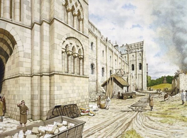 ST AUGUSTINE'S ABBEY, Kent. Reconstruction drawing of the Norman church under construction by Peter URMSTON