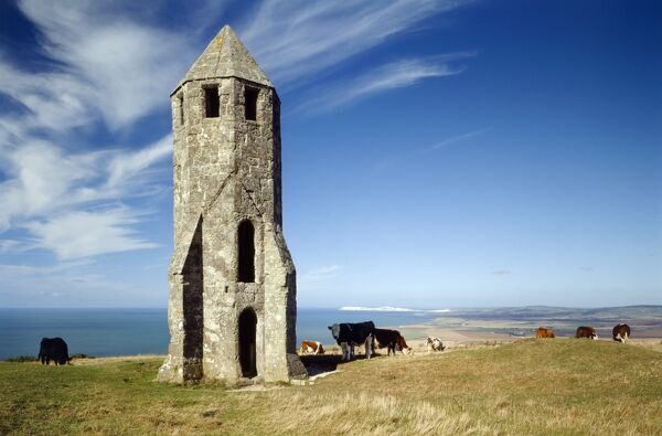 ST CATHERINE'S ORATORY, Isle of Wight. View of the 'Pepperpot' octagonal monument looking west with the coastline and cliffs beyond