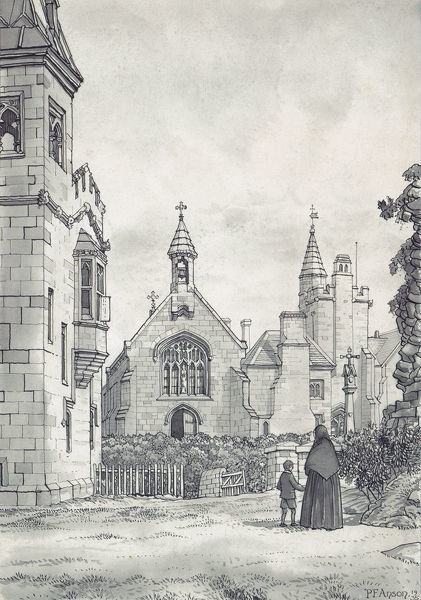St John's Hospital, Castle Hill, Alton, Staffordshire. Pen and ink sketch, by Peter Anson, showing the exterior of St John the Baptist. 1935