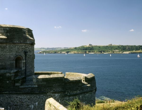 ST MAWES CASTLE, Cornwall. View across the Carrick Roads towards Pendennis Castle