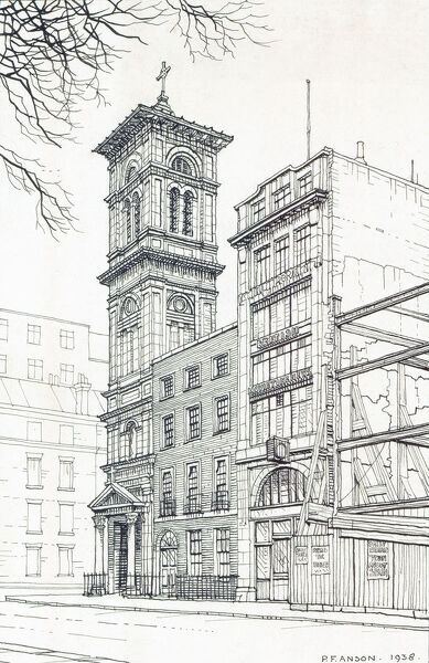 St Patrick's Church, Soho Square, London. Pen and ink sketch, by Peter Anson, of a street frontage in which a Georgian house has been enclosed by an Italianate campanile and a Movietone News office. 1938
