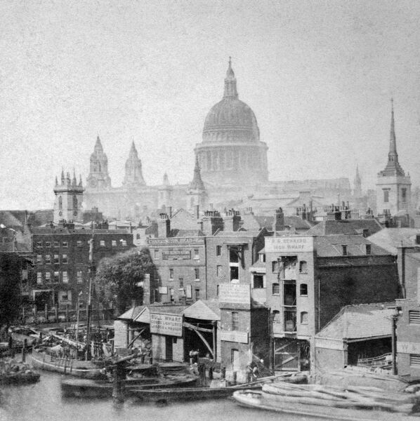 ST PAUL'S CATHEDRAL, City of London. St Pauls, viewed from Bull Wharf on the river frontage, seems to dominate the Victorian City. Photograph pre-1876. Howarth-Loomes Collection
