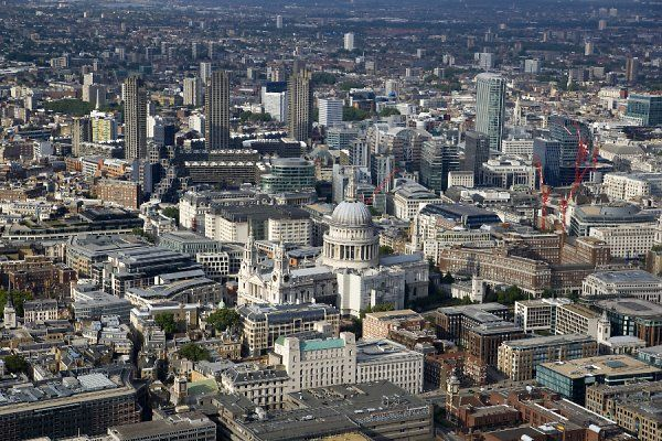 ST PAUL'S CATHEDRAL, London. An aerial view of Sir Christopher Wren's St Pauls surrounded by the City landscape
