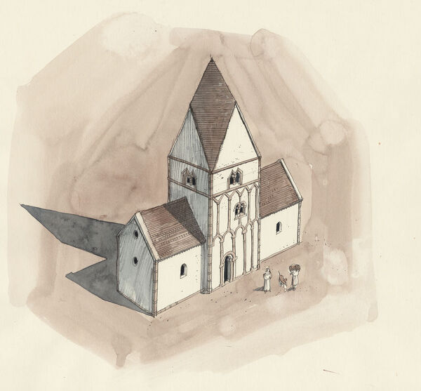 ST PETER'S CHURCH, Barton-upon-Humber, Lincolnshire. Aerial view reconstruction drawing by Liam Wales of the church in Anglo-Saxon period