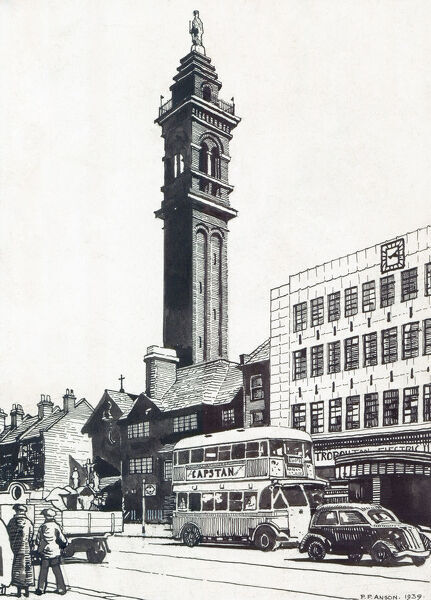St Saviour and St John the Baptist and Evangelist Church, Lewisham, London. Pen and ink sketch, by Peter Anson, of the campanile from a busy High Street with cars, buses and people. 1939