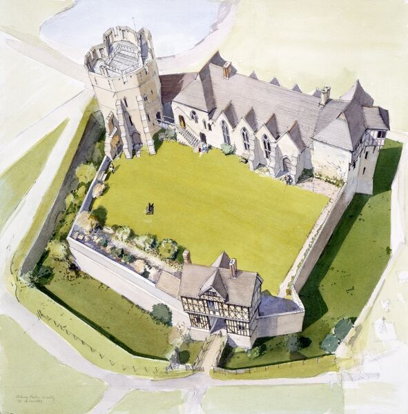 STOKESAY CASTLE, Shropshire. A present day aerial reconstruction drawing by Terry Ball (English Heritage Graphics Team)
