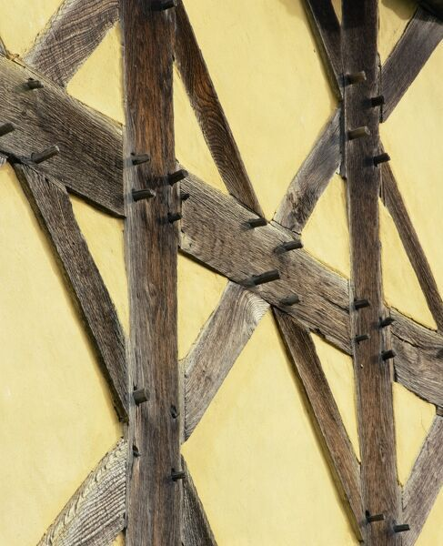 STOKESAY CASTLE, Shropshire. Detail of timber framing on the exterior of the 17th century gatehouse