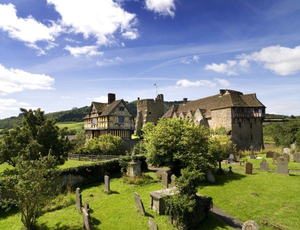 STOKESAY CASTLE, Shropshire. An elevated view of the castle taken from the church graveyard