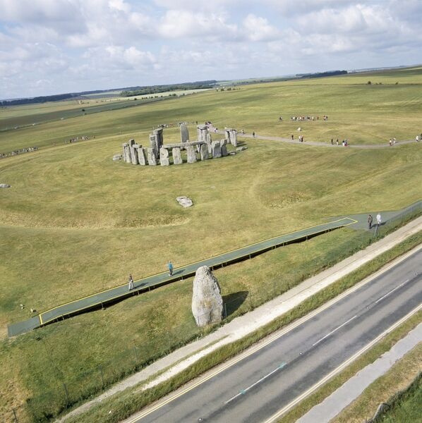STONEHENGE, Wiltshire. Aerial view of the site, including Heel Stone, looking south west