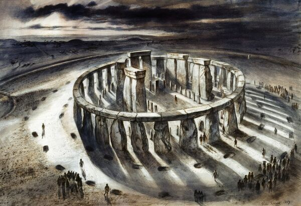 STONEHENGE, Wiltshire. Reconstruction drawing of Stonehenge as it might have appeared in 1000 BC by Alan Sorrell