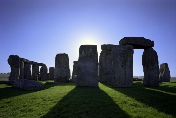 STONEHENGE, Wiltshire. Close up view of the stone circle during the Summer Solstice sunrise