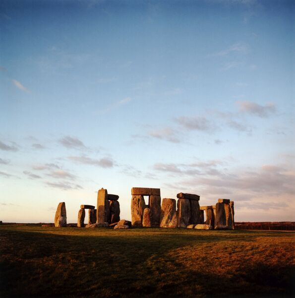 STONEHENGE, Wiltshire. Daytime view of the stones showing the Great Trilithon