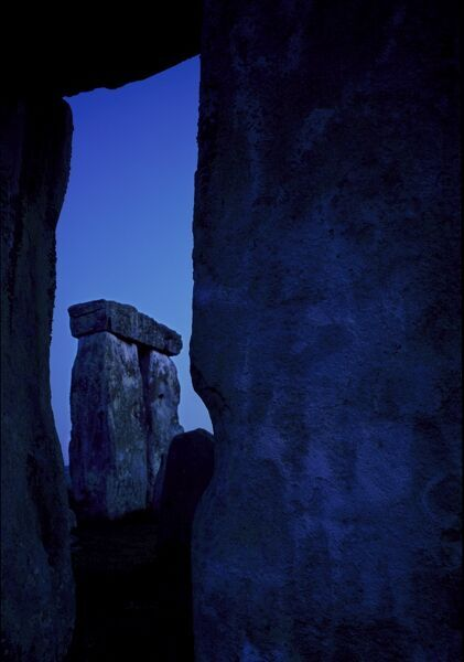 STONEHENGE, Wiltshire. Details of stones at night