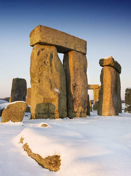 Stonehenge, Amesbury, Wiltshire. General view of Stonehenge in the snow