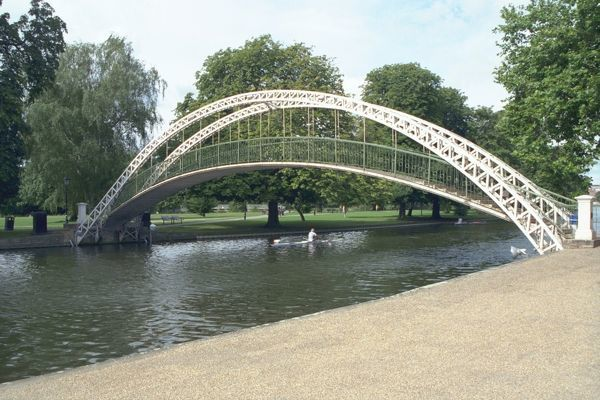 Suspension Bridge. Footbridge over the River Great Ouse in Bedford dated 1888