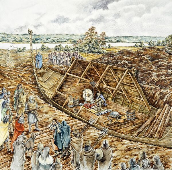 SUTTON HOO, Woodbridge, Suffolk. Reconstruction drawing of the Sutton Hoo ship burial in 620 or 630 - by Peter Dunn (English Heritage Graphics Team)